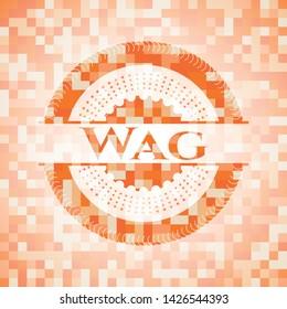 Wag abstract orange mosaic emblem