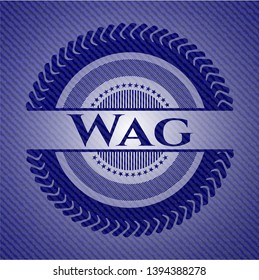 Wag emblem with jean background. Vector Illustration. Detailed.