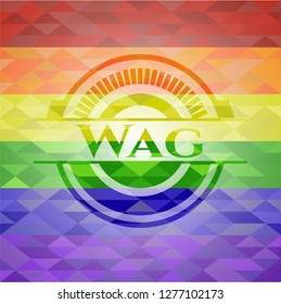 Wag emblem on mosaic background with the colors of the LGBT flag
