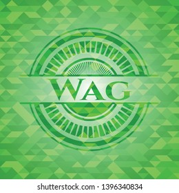 Wag green emblem with mosaic background. Vector Illustration. Detailed.