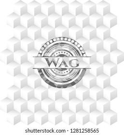 Wag grey emblem with cube white background