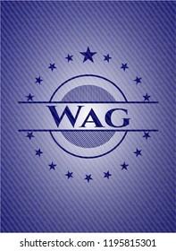 Wag jean or denim emblem or badge background
