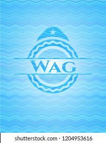 Wag light blue water wave emblem background.
