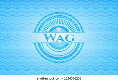 Wag light blue water wave emblem.