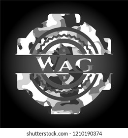 Wag on grey camouflage texture