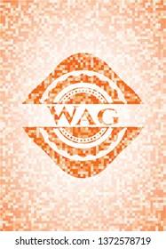 Wag orange tile background illustration. Square geometric mosaic seamless pattern with emblem inside.