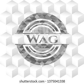 Wag realistic grey emblem with geometric cube white background