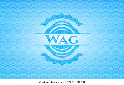 Wag sky blue water wave badge background.