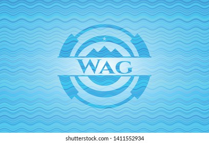 Wag water wave representation style badge. Vector Illustration. Detailed.