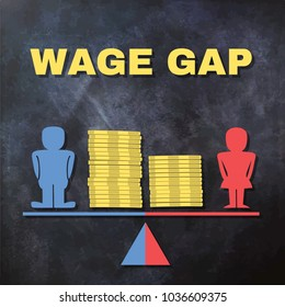 Wage gap concept illustration - male and female figures standing on a scale with piles of coins