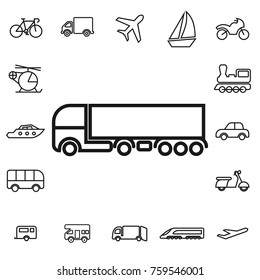 waggon. linear transport icon set