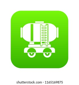 Waggon storage tank with oil icon digital green for any design isolated on white vector illustration