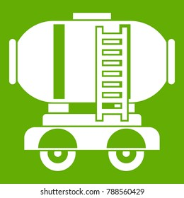 Waggon storage tank with oil icon white isolated on green background. Vector illustration