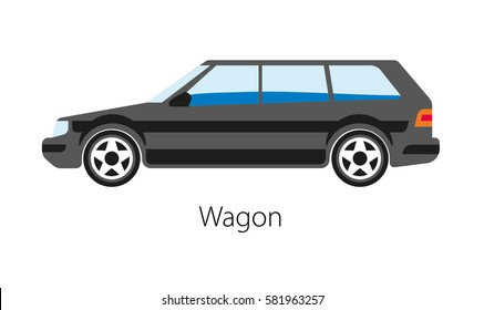 Wagon car isolated on white background. Station wagon or estate car, automotive body-style variant of a sedan saloon with roof extended rearward over shared passenger cargo vector illustration