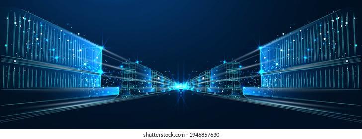 Güterwagen mit Containern auf blauem Hintergrund, abstrakter Vektorgrafik 3d. Transport, Logistik oder internationales Versandkonzept. Digitale Polygonal Low-Poly-Mesh-Illustration