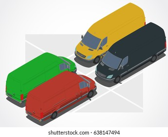 Wagon, van, pickup. Colored car for Isometric world