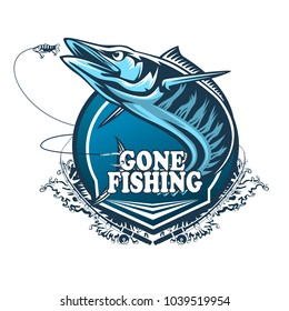 Wahoo fish. Fishing logo vector. Acanthocybium solandri. Scombrid fish jumping up fishing emblem on white background.