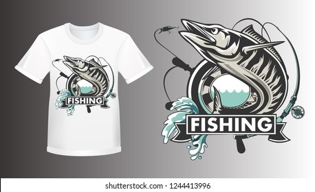 Wahoo fish shirt mockup. Fishing logo vector. Acanthocybium solandri. Scombrid fish jumping up fishing emblem on white background.
