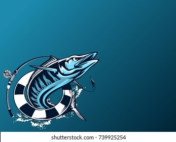 Wahoo fishing on white logo illustration. Vector illustration can be used for creating logo and emblem for fishing clubs, prints, web and other crafts.