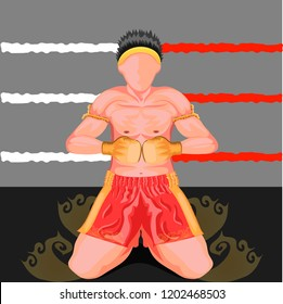 wai khru is a form of  ritual performed by muay thai practitioners before a match pay respects to teachers vector illustration eps10