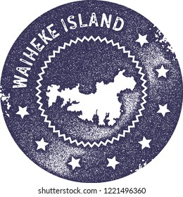 Waiheke Island map vintage stamp. Retro style handmade label, badge or element for travel souvenirs. Deep purple rubber stamp with island map silhouette. Vector illustration.