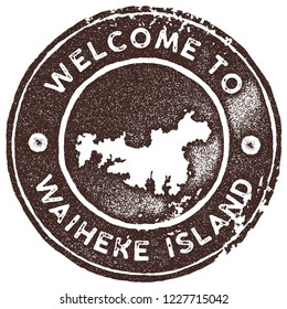 Waiheke Island map vintage stamp. Retro style handmade label, badge or element for travel souvenirs. Brown rubber stamp with island map silhouette. Vector illustration.