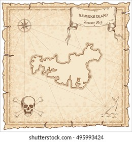 Waiheke Island old pirate map. Sepia engraved parchment template of pirate map with Waiheke Island outline. Vector stylized pirate map on vintage paper.