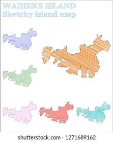 Waiheke Island sketchy island. Posh hand drawn island. Precious childish style Waiheke Island vector illustration.
