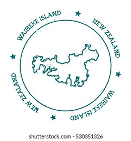 Waiheke Island vector map. Retro vintage insignia with island map. Distressed travel stamp with Waiheke Island text wrapped around a circle and stars. Waiheke Island map vector illustration.