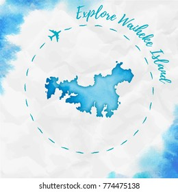 Waiheke Island watercolor island map in turquoise colors. Travel poster with airplane trace and handpainted country. Vector illustration.