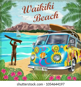 Waikiki retro poster with retro bus.