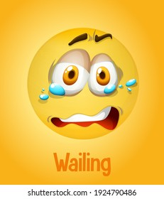 Wailing emotional yellow face with tired text on yellow background illustration