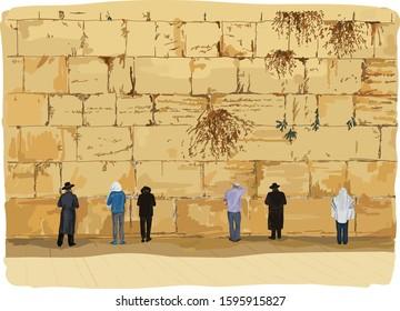 Wailing Wall in old Jerusalem. Israel.