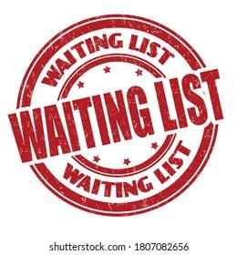 Waining list sign or stamp on white background, vector illustration