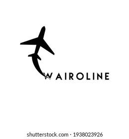 Wairoline, A minimalist Airline logo design vector. A unique idea for airline companies.