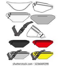 Waist Bag Fashion flat technical drawing vector template