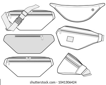 Waist BAG vector illustration flat sketches template