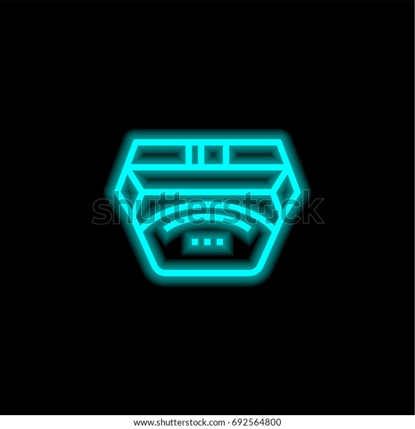 Waist blue glowing neon ui ux icon. Glowing sign logo vector