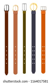 Waist leather is colored in a dark and light, thick and thin strap. Set of male accessories on a white background. Vector illustration
