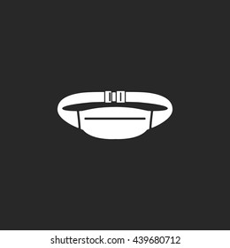 Waist sport bag sign simple icon on background