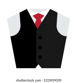 Waistcoat flat icon. You can be used icon waistcoat for several purposes like: websites, UI, UX, print templates, presentation templates, info-graphics, web and mobile phone apps.