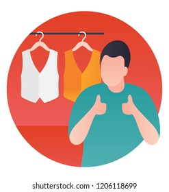 Waistcoat in hangers besides a person, waistcoat shop icon