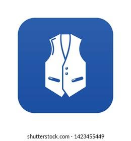 Waistcoat icon blue vector isolated on white background