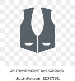 Waistcoat icon. Waistcoat design concept from Clothes collection. Simple element vector illustration on transparent background.