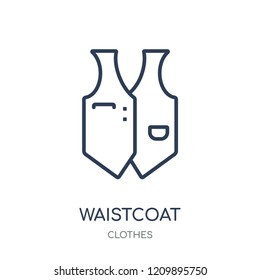 Waistcoat icon. Waistcoat linear symbol design from Clothes collection. Simple outline element vector illustration on white background.