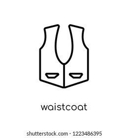 waistcoat icon. Trendy modern flat linear vector waistcoat icon on white background from thin line Clothes collection, outline vector illustration