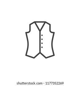 Waistcoat outline icon. linear style sign for mobile concept and web design. Vest simple line vector icon. Symbol, logo illustration. Pixel perfect vector graphics
