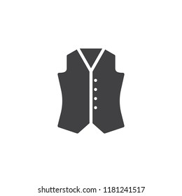 Waistcoat vector icon. filled flat sign for mobile concept and web design. Vest simple solid icon. Symbol, logo illustration. Pixel perfect vector graphics