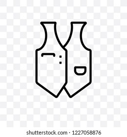 Waistcoat vector linear icon isolated on transparent background, Waistcoat transparency concept can be used for web and mobile