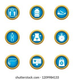 Waistline icons set. Flat set of 9 waistline vector icons for web isolated on white background